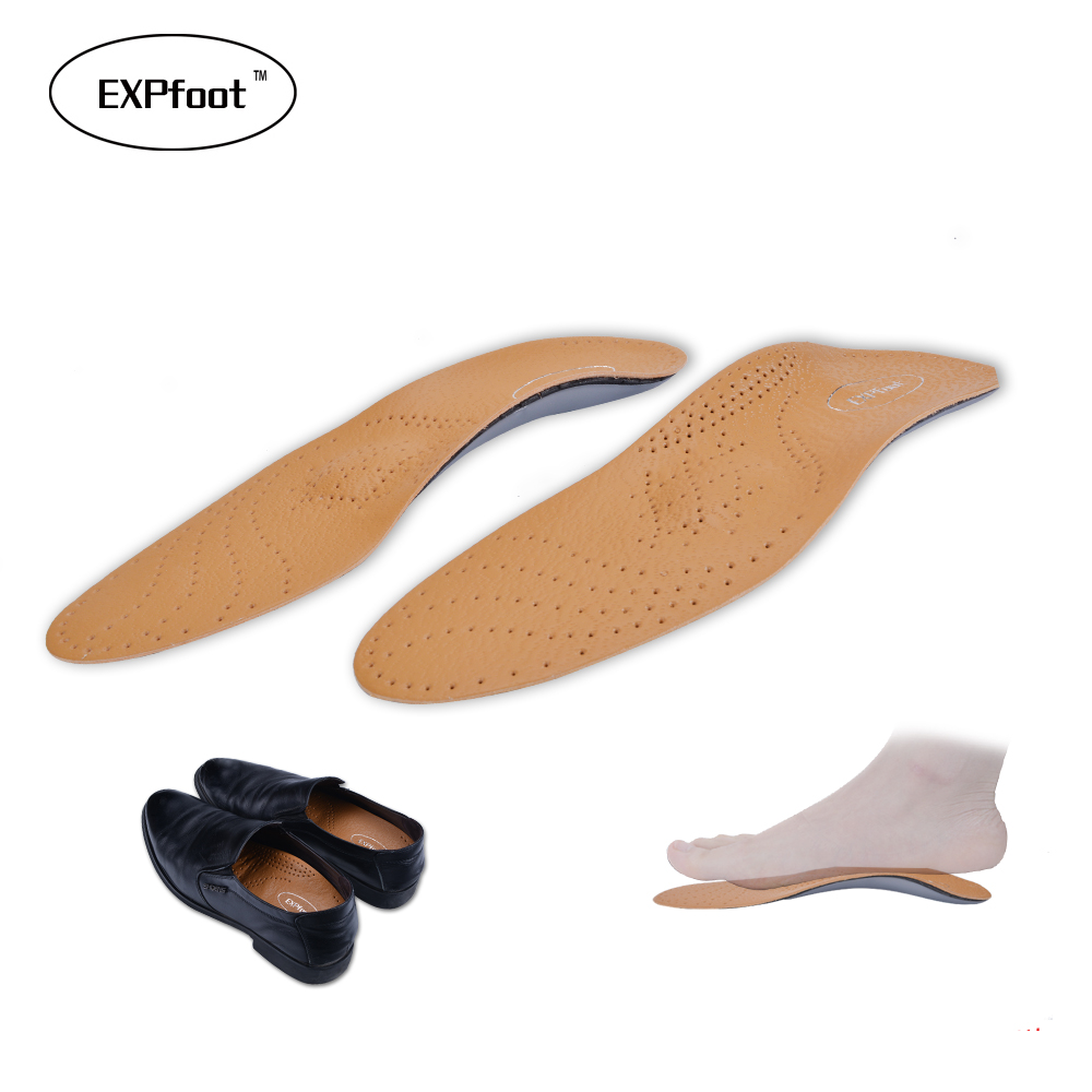 EXPfoot New Style Leather Arch Support Insole For Flat Feet Orthotic Insole flat foot correct feet care orthopedic insert shoe