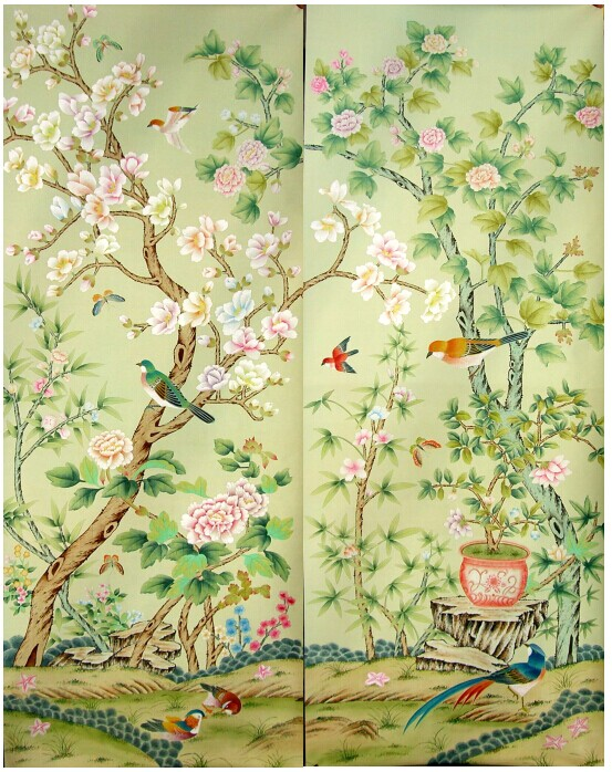 Decoration hand painted wallcovering Hand-painted silk wallpaper painting Magnolia flowers with birds many pictures optional home decoration hand painted silk wallpaper hand painted painting plant with birds flowers many pictures backgrounds optional