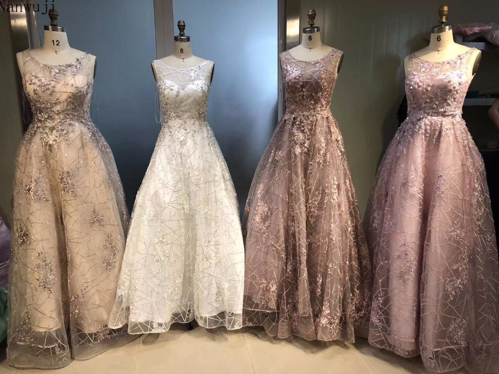 Robe De Soiree A line Evening Dresses Scoop Appliqued With Lace Beaded See Through Vestido Longo Prom Dresses Evening Gown in Evening Dresses from Weddings Events