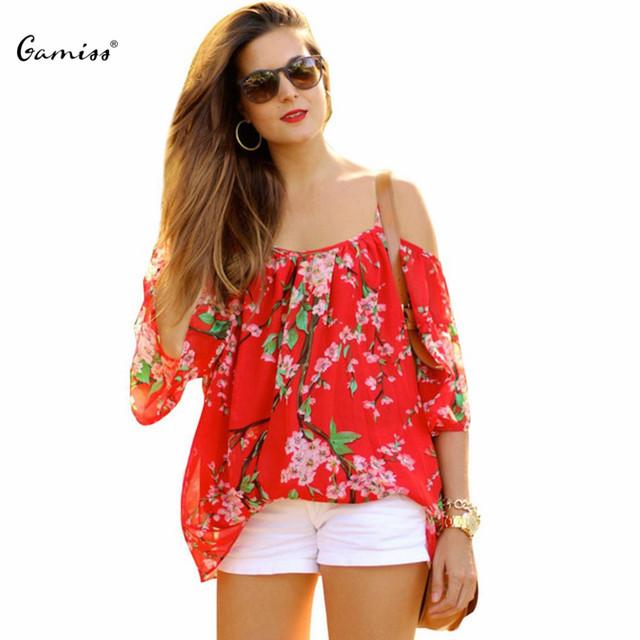 Nova Marca Sakura Gamiss Chiffon Mulheres Blusa de Verão 2016 Ocasional Floral Impressão Spaghetti Strap Off The Shoulder Blusa Para As Mulheres