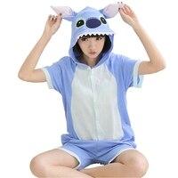 Blue Pink Stitch Summer Short Pajama Women Men Adult Animal Pijama Cotton Onesie Sleepwear Hoodie Halloween