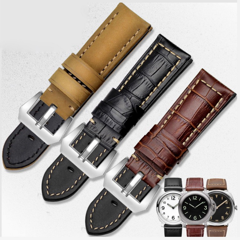 neway 100% Genuine Leather Watch Band Wrist Strap 22mm 24mm 26mm Steel Buckle Replacement Bracelet Belt Men Black Brown watchbands black brown leather watch strap band genuine soft buckle wrist replacement fits mens relojes hombre 2016 18 20mm 26mm