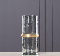 Nowa zimna szary miedzi pierścień proste szkła wazon salon stolik szkła ręcznie flower arrangement