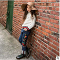 Pantalones vaqueros de los niños nueva primavera \ bordado mariposa en los grandes de nuevo para los pantalones vaqueros