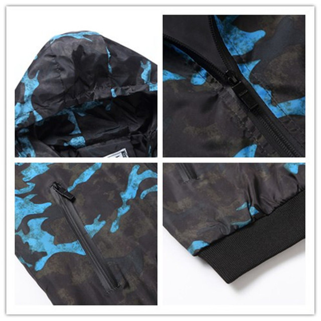 Mens Casual Camouflage Hoodie Jacket Waterproof and Windbreaker