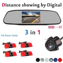 3 в 1 универсальный электромагнитные датчики парковки камеры 16.5 мм с жк-монитор автомобиля показать расстояние для honda/hyundai/все автомобиль