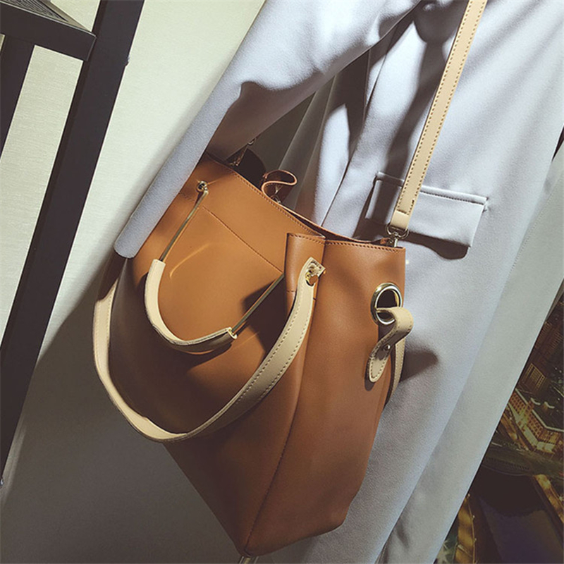 ФОТО Simple Women's Leather Handbags 2017 Large Capacity Shoulder Bag Multifunctional Composite Bag Women Messenger Bags Ladies Tote