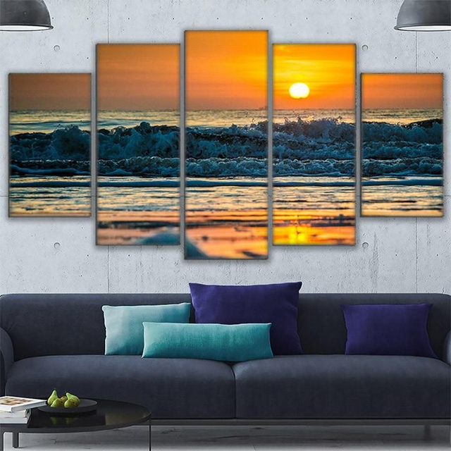 Canvas pictures home decor living room wall art 5 piece ocean sunset view painting hd printed