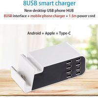 8 USB Ports Multi Function Desktop Wall Charger With Micro USB Dock Cradle Charger For Universal Smart Phone