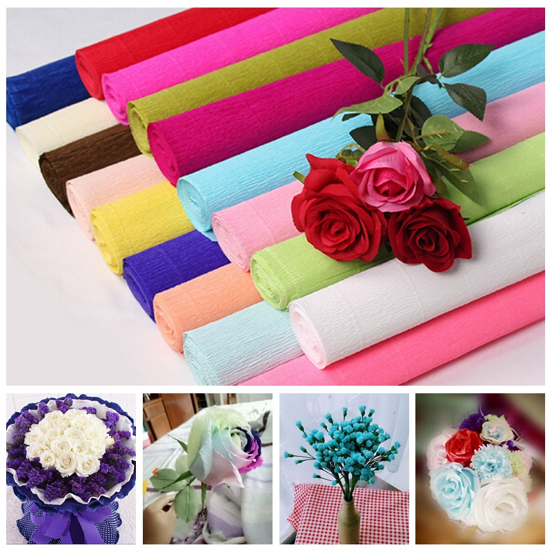 250x50cm 1 roll diy flower making crepe papers wrapping flowers photos list mightylinksfo