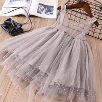 Hurave New Baby Girl Clothes Children Summer Mesh Tutu Dress Kids Clothes Solid Lace Camis Princess