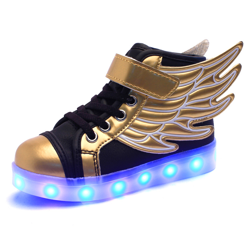 Children Glowing Sneakers High Top LED Shoes Kids Fashion Golden Wing  Luminous Shoes Boys Running Casual Shoes With LED Light-in Sneakers from  Mother   Kids ... 0fb6b908cfdf