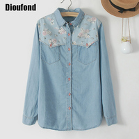 Dioufond Floral Print Shirts Women High Quality Turn Down Collar Camisa Jean Casual Blouses Women Tops