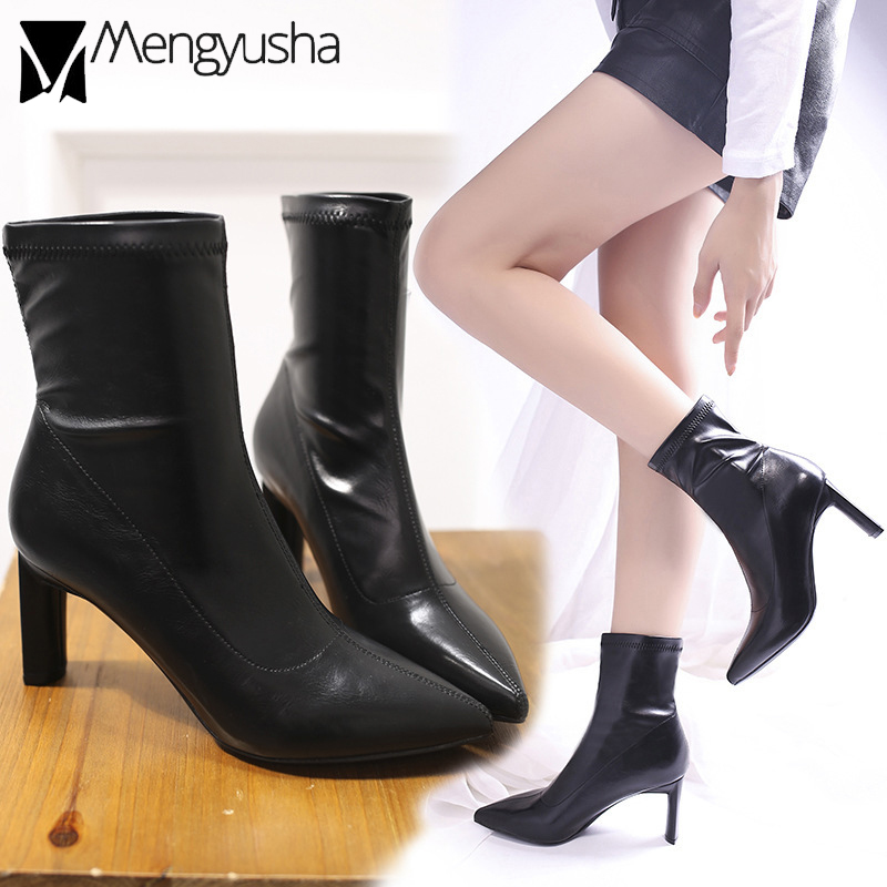 0e50c7e33db US $24.28 16% OFF|Stretch Soft leather socks boots women thin high heels  botas mujer 2019 new pointed toe winter ankle martin booties shoes women  -in ...