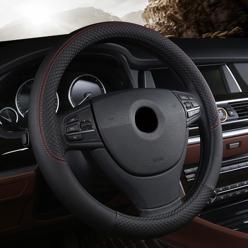 Car steering-wheel 38cm Leather Hand-stitched PU leather Dermay Car Steering Wheel Cover Fit For Most Cars Styling