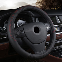 Car Steering Wheel 38cm Leather Hand Stitched PU Leather Car Steering Wheel Cover Fit For Most