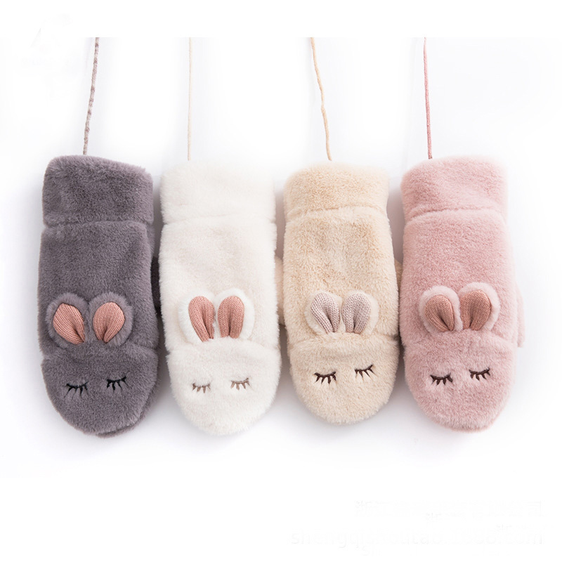 Furry Fur Winter Gloves Kids Girls Women Rabbit Mittens With Full Finger Warm Mittens For Fashion Winter Warm Children Gloves