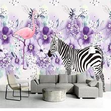 Обои в скандинавском стиле ручная роспись Зебра движущиеся фиолетовые