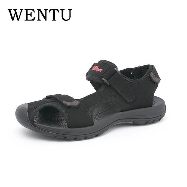 4f96f0be228caf WENTU Sport Sandals Men Close Toes Leather Sandals Summer Outdoor Men  Sandals Rubber Sole For Male Sport