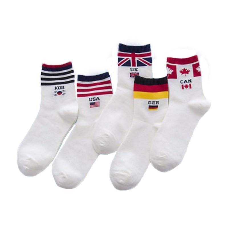 New Fashion Casual Men   Socks   White Flag Men's   Socks   Brand Happy Creative   Socks   Cotton   Socks   calcetines hombre