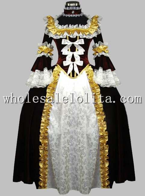 19th века Шоколад& белый; комплект люксовых туфель в викторианском стиле платье эпохи - Цвет: black and gold