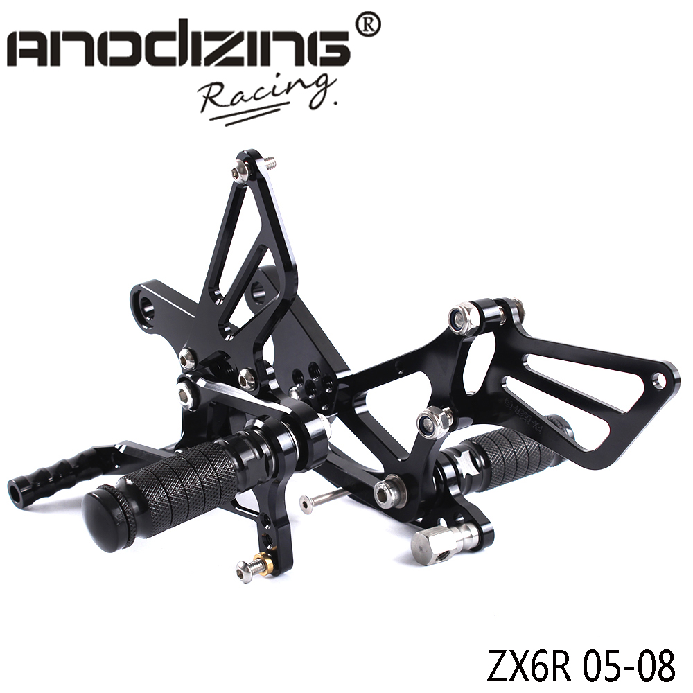 Full CNC Aluminum Motorcycle Adjustable Rearsets Rear Sets Foot Pegs For KAWASAKI ZX6R ZX-6R 2005-2008