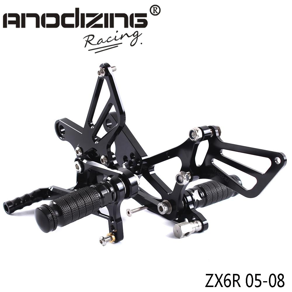 Full CNC Aluminum Motorcycle Adjustable Rearsets Rear Sets Foot Pegs For KAWASAKI ZX6R ZX-6R 2005-2008 rear wheel hub for mazda 3 bk 2003 2008 bbm2 26 15xa bbm2 26 15xb bp4k 26 15xa bp4k 26 15xb bp4k 26 15xc bp4k 26 15xd