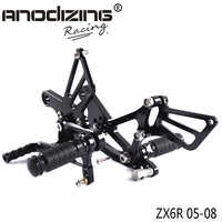 Full CNC Aluminum Motorcycle Adjustable Rearsets Rear Sets Foot Pegs For KAWASAKI ZX6R ZX-6R 2005 2006 2007 2008