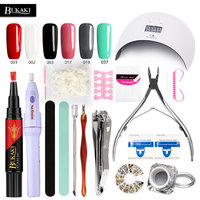 BUKAKI 29pcs One Step Nail Gel Pen Nail Art Sets 3 In 1 Lacquer Hybrid UV Gel Varnish Lamp for Nails Manicure Machine Tools Kits