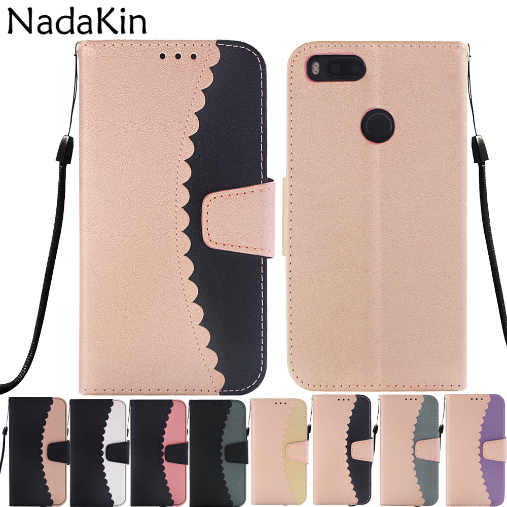 Contrast Color Splice Flip Leather <font><b>Book</b></font> Case for <font><b>Xiaomi</b></font> <font><b>Redmi</b></font> <font><b>4A</b></font> Note 5A Prime 4 4X Mi A1 Women's Luxury Phone <font><b>Cover</b></font> Shell image