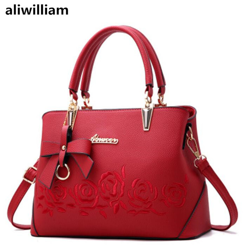 Aliwilliam New Female Handbag Fashion Ladies Wild Personality Embroidery Simple Bag Female Oblique Cross Shoulder Bag Handbag aliwilliam bag female 2017 autumn new
