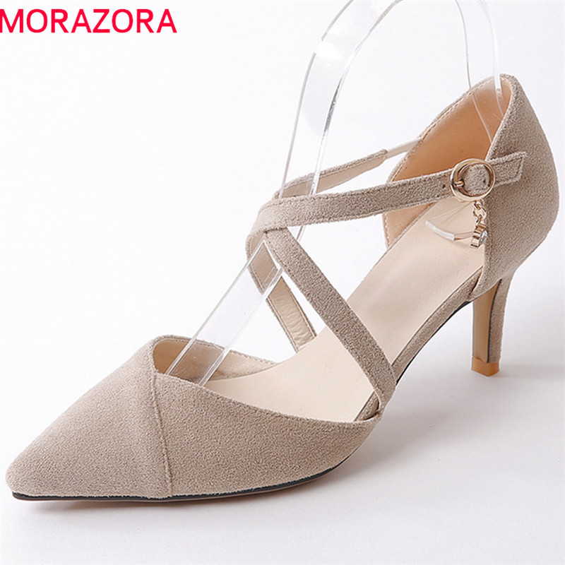 MORAZORA 2018 hot sale women pumps flock pointed toe fashion shoes sweet pink simple buckle party wedding shoes high heels shoes hot sale pointed toe buckle charm fashion wedding shoes genuine leather sexy red pumps women pumps high quality high heels shoes