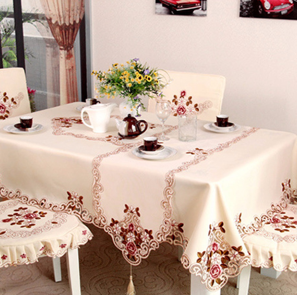 Newcomdigi 1 Piece Elegant Round Table Cloth Exquisite