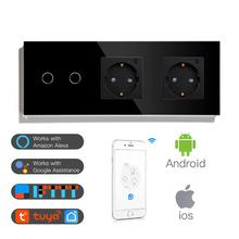 BSEED Double WiFi EU Sockets 2Gang 1Way Switch With White Black Gloden Crystal Glass Panel Control by Alexa Google ,tuya