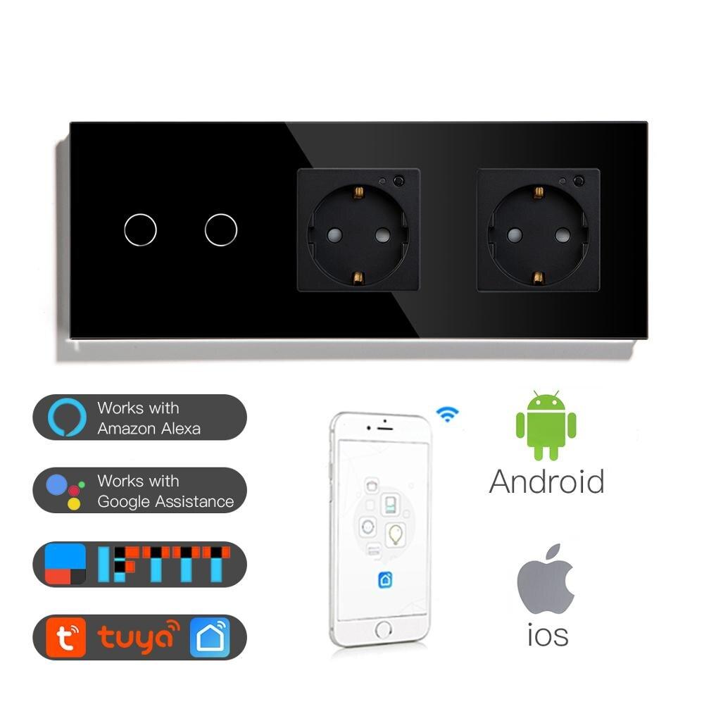 BSEED Double WiFi EU prises 2Gang 1Way interrupteur avec blanc noir Gloden panneau de verre cristal contrôle par Alexa Google, tuya