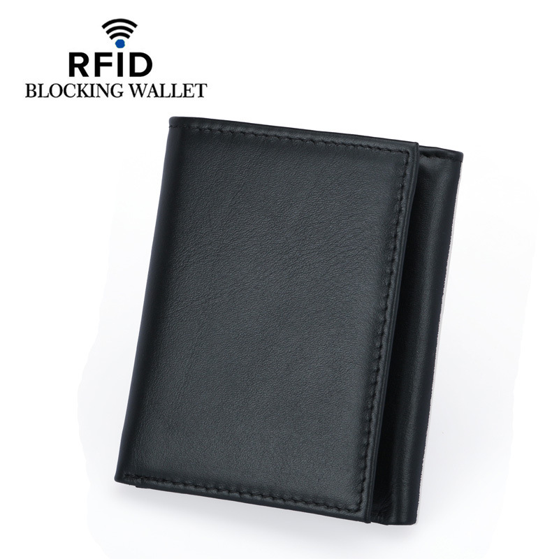 RFID Protection Wallet For Men Male Genuine Real Leather Short Trifold Wallets Cowhide Casual Purse Plastic Credit Card Holder mlb baltimore orioles embossed genuine cowhide leather trifold wallet