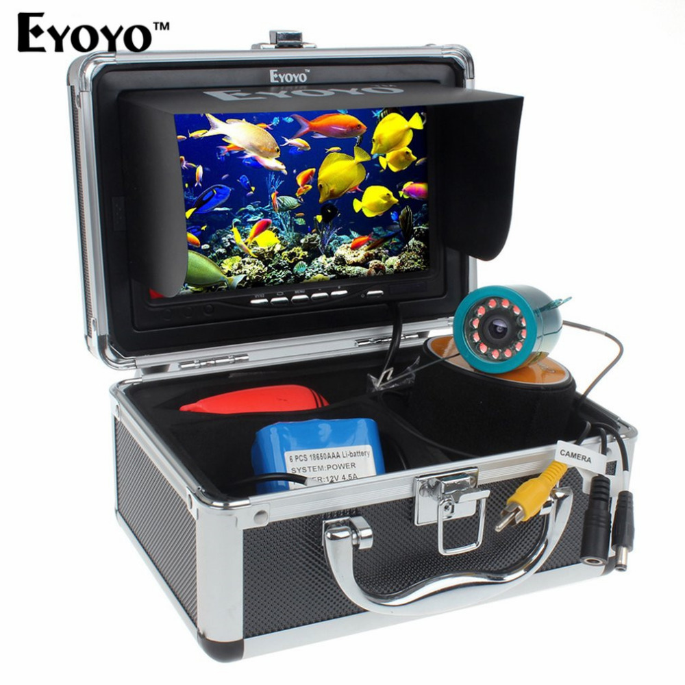 Eyoyo 15M 30M 1000TVL Fish Finder Underwater Fishing 7inch Video Camera Monitor AntiSunshine Shielf Sunvisor Infrared IR LED DVR
