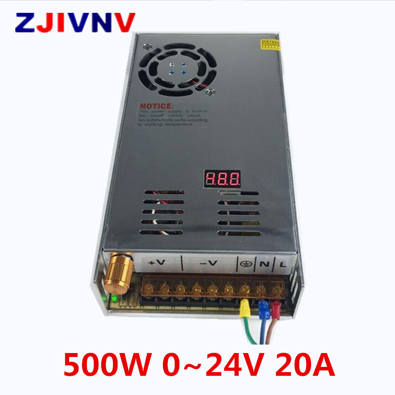 500W 0~24V 20A switching power supply AC To DC SMPS For Electronics Led Strip Display Digital voltage adjustable 0-24Vdc500W 0~24V 20A switching power supply AC To DC SMPS For Electronics Led Strip Display Digital voltage adjustable 0-24Vdc