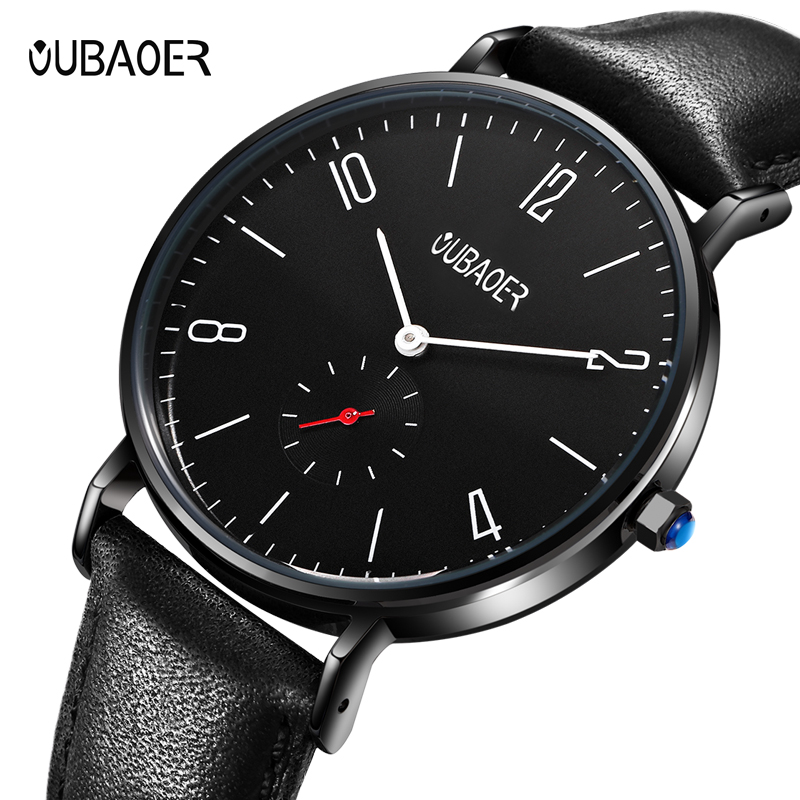 OUBAOER Mens Watches Top Brand Luxury Leather Strap Business Date Sport Military Army Male Clock Wrist Quartz Men Watch Hot shiweibao cool watch men sport watch men golden big case four time zones military watches date leather strap mens quartz watches