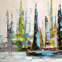 Hand Painted Water Boat Landscape Oil Painting On Canvas Modern paintings high quality palette knife oil paintings