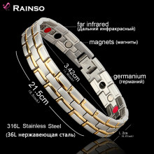 Healing Magnetic Bracelet Men/Woman 316L Stainless Steel 3 Health Care Elements(Magnetic,FIR,Germanium) Gold Bracelet Hand Chain(China)