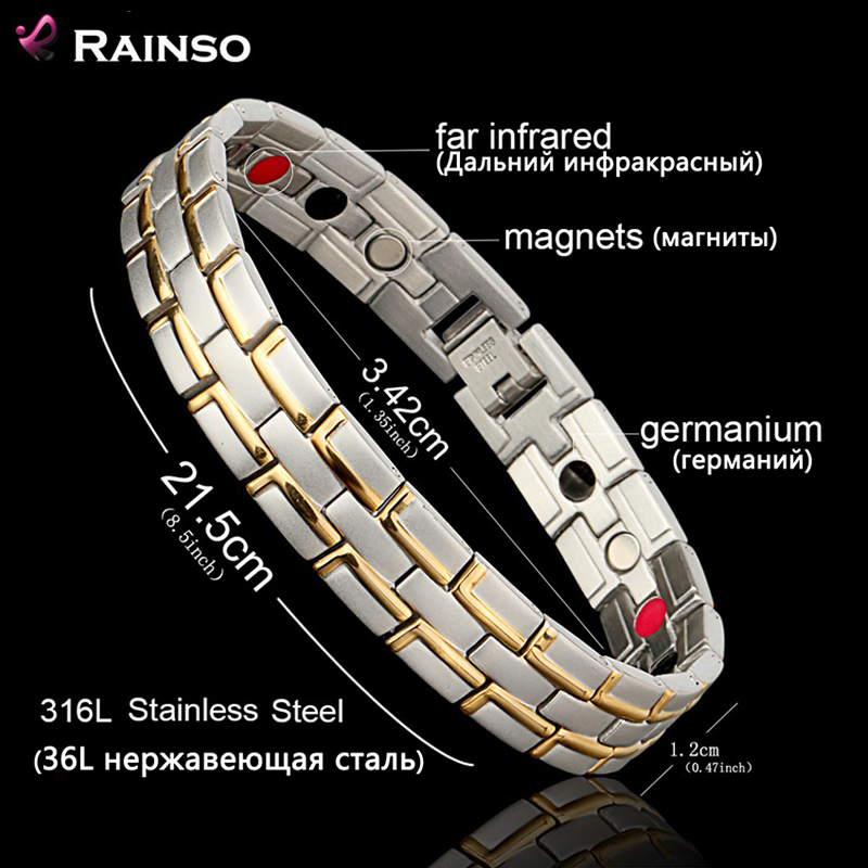 Лікувальний магнітний браслет чоловіків / жінка Нержавіюча сталь 316L 3 елементи охорони здоров'я (магнітна, РІР, германій) Золотий браслет
