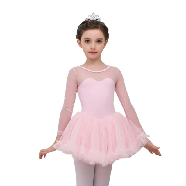 3839ef155 girl leotard 4 15Y Children Girls Cute Mesh Long Sleeve Ballet Tutu ...