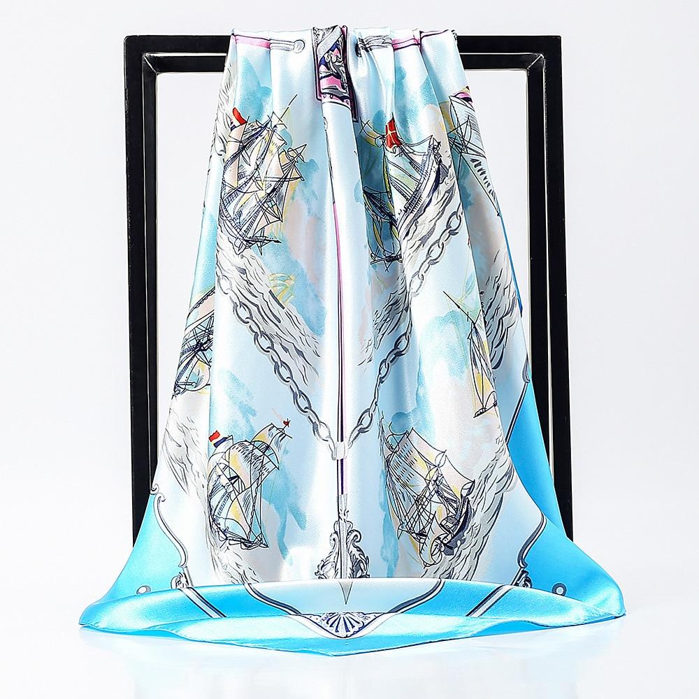 90*90cm Ship Print Silk Women   Scarf   Large Square   Scarves   Brand Hijab Foulard Bandana Gift Brand Shawls   Wraps