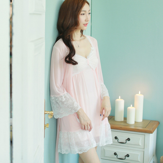 Modal material  Ropa De Dormir Para Mujeres Conjuntos Bra Nightgown Sheer Sleepwear Vestido Branco Sleepwear Women Robe 288