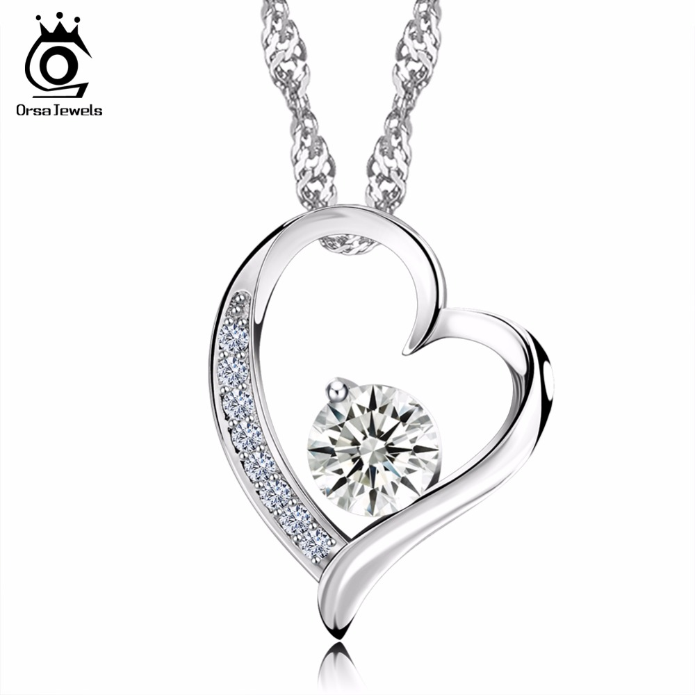 ORSA JEWELS Wholesale Love Heart Shape Silver Pedant Necklaces for Women 2017 New Fashion Elegant Ladies' Jewelry Gift ON09