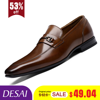 DESAI Brand Top Quality Men Pointed Toe Shoes Genuine Leather Luxury Men Dress Shoes Slip On Wedding Shoes