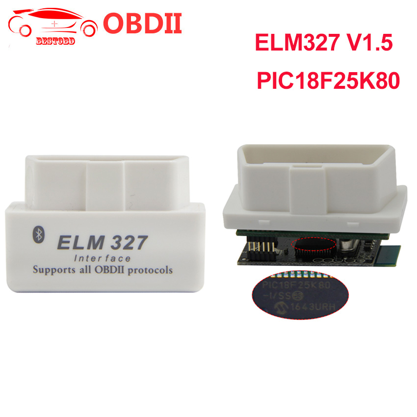 Image 1 - (20pcs/lot)Mini ELM327 v1.5 PIC18F25K80 Chip OBD2 Scanner Bluetooth OBDII Code Reader CAN BUS for Android Torque Windows on