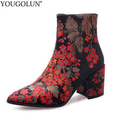 Silk Ankle Boots Women Autumn Winter Woman Square Mid Heels Shoes A301 National Style Floral Green Blue Red Pointed Toe Boots(China)