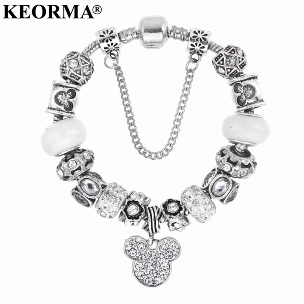 KEORMA Carton Pink Mickey Mouse Charm Bracelets Bangles for Women with  Murano Glass Beads Women Bracelet Fashion Girls Gifts